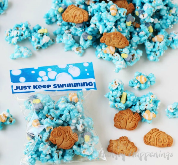 Just Keep Swimming Popcorn, Finding Dory Birthday Party Ideas | Pretty My Party