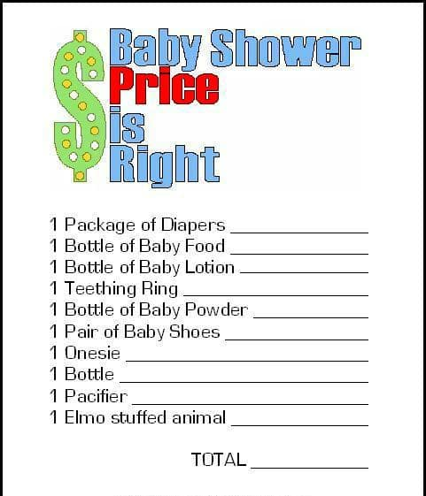 Price is Right Baby Shower Game, Fun Baby Shower Games