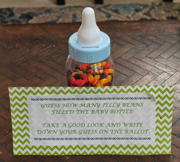 Baby Shower Game Idea - Guess How Many Jelly Beans in Baby Bottle