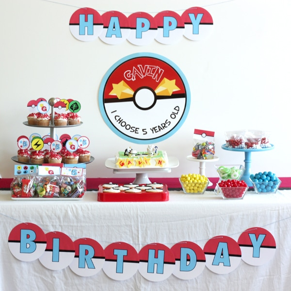Dessert Table - Creative Pokemon Birthday Party Ideas - Pretty My Party