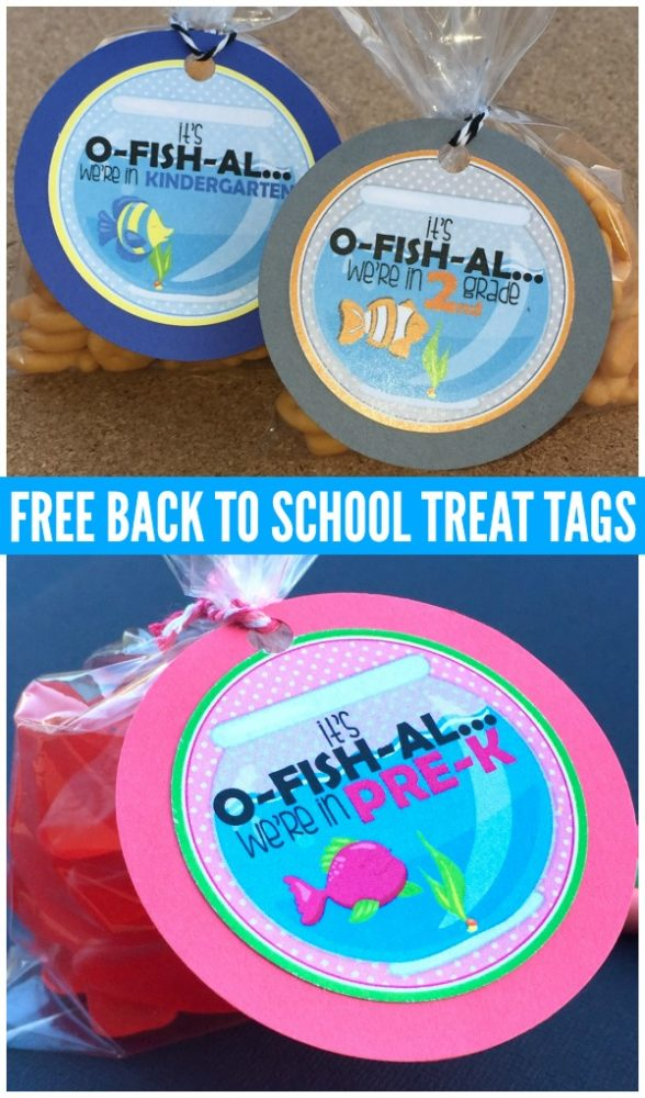 New School Year Free Printable Fish Treat Tags via Pretty My Party