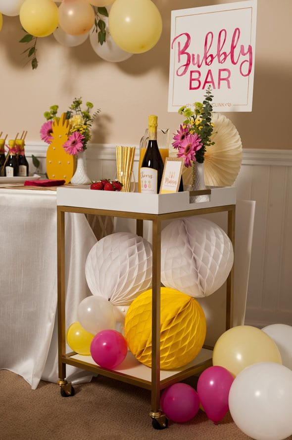 Pineapple Themed Bridal Shower bubbly bar cart via Pretty My Party
