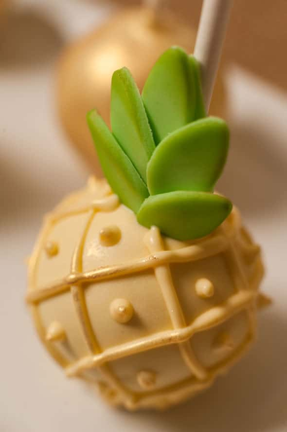 Pineapple Themed Bridal Shower cake pops via Pretty My Party
