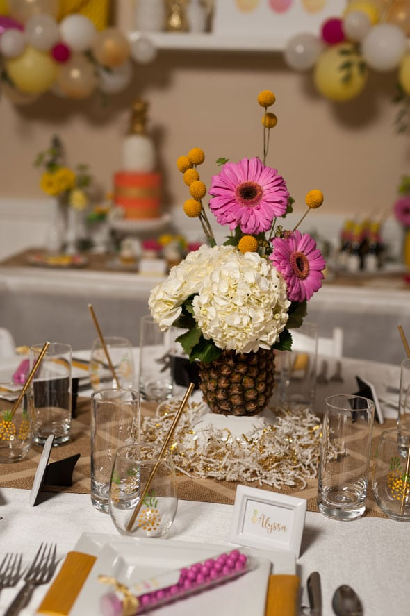 Pineapple Themed Bridal Shower centerpiece via Pretty My Party