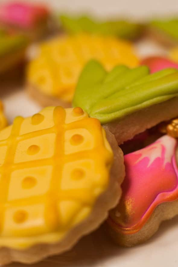 Pineapple Themed Bridal Shower cookies via Pretty My Party