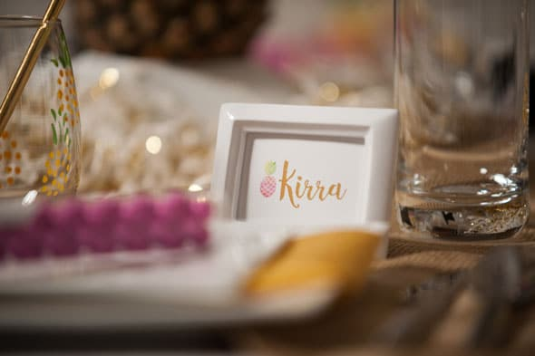 Pineapple Themed Bridal Shower place card via Pretty My Party