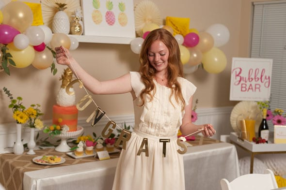 Pineapple Themed Bridal Shower decorations via Pretty My Party