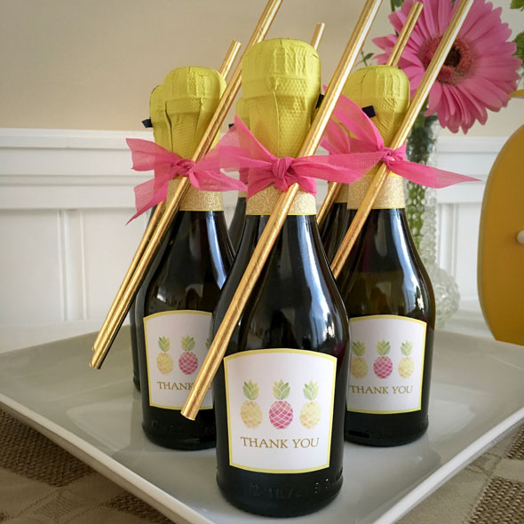 Pineapple Themed Bridal Shower bubbly favors via Pretty My Party