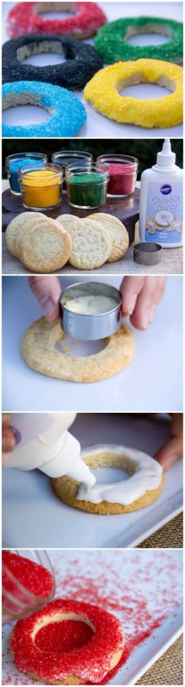 Olympic Ring Cookies, 13 Creative Olympic Party Ideas via Pretty My Party
