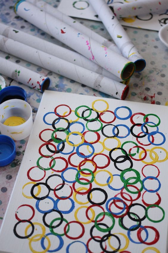 Kids Olympic Ring Art, 13 Creative Olympic Party Ideas via Pretty My Party