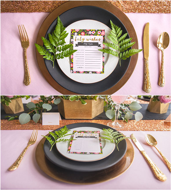 Modern Garden Baby Shower Table Decor Place Setting via Pretty My Party