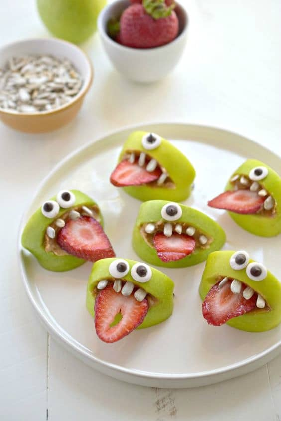 Silly Monster Apple Bites, Healthy Halloween Snacks
