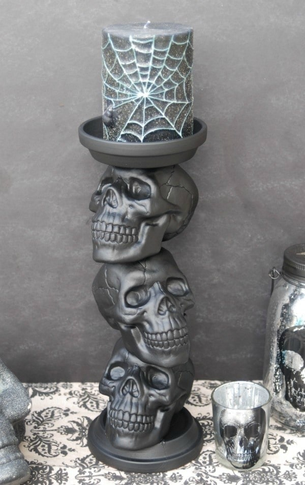 DIY Halloween Skull Candle Holder, DY Halloween Decorations