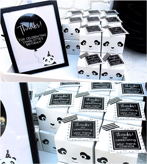 Party Like a Panda Birthday Party favor boxes via Pretty My Party
