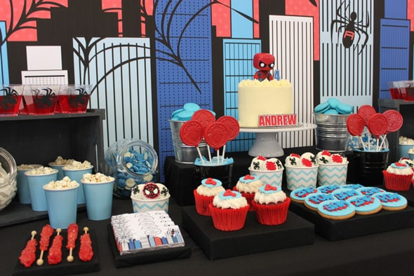 Spiderman Birthday Party Sweets Buffet | Pretty My Party