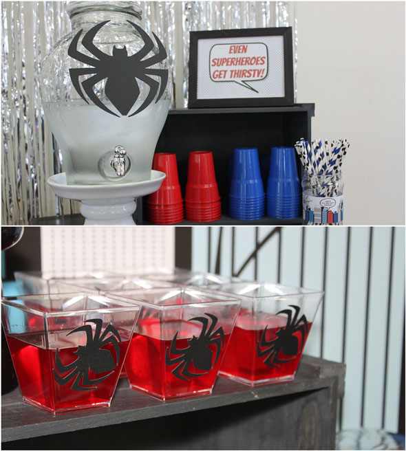 Spiderman Birthday Party Drink Station | Pretty My Party