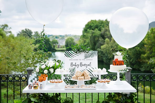 Welcome to the Jungle Baby Shower Dessert Table via Pretty My Party