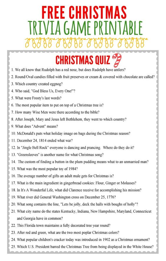 Free Printable Christmas Trivia Game