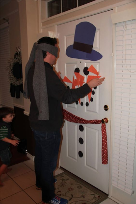 Pin the Carrot on the Snowman Family Christmas Game