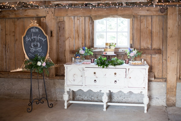 Rustic Glam Wedding Cake Table via Pretty My Party