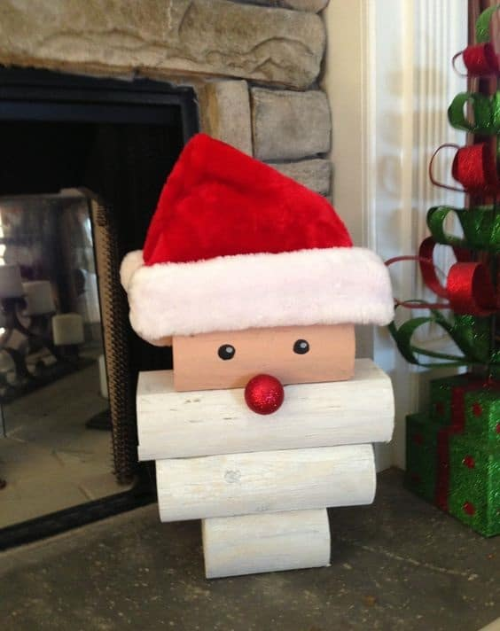 Wood Log Santa Decoration
