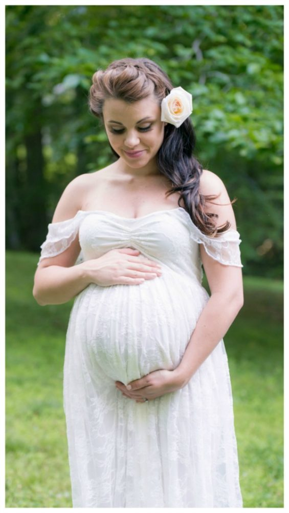 Whimsical Outdoor Baby Shower lace maternity gown via Pretty My Party