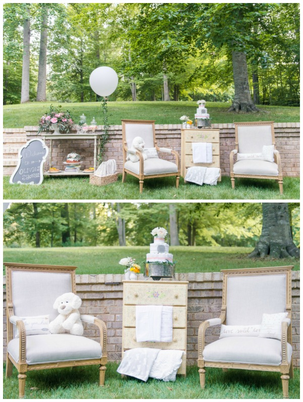 Whimsical Outdoor Baby Shower Decor via Pretty My Party