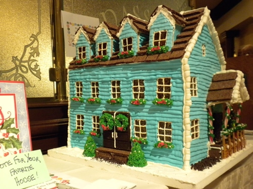 Blue Cabin Gingerbread House Idea