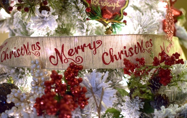 Burlap Merry Christmas Ribbon | Pretty My Party