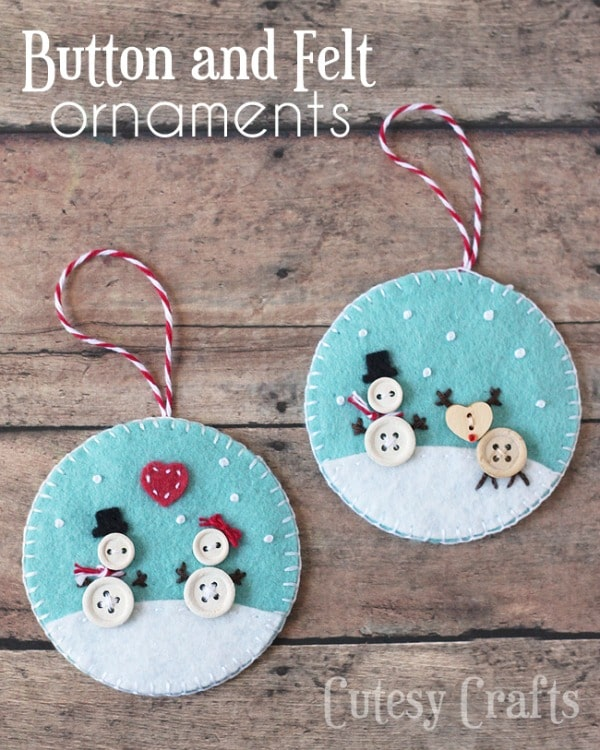 Button and Felt Handmade Ornaments