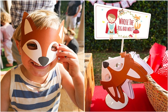 Red Riding Hood Picnic Birthday Wolf Masks   Pretty My Party