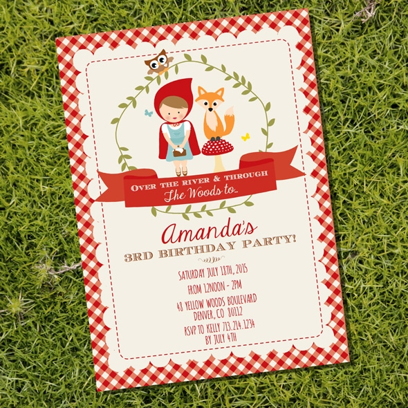 Red Riding Hood Picnic Birthday Party Invitation | Pretty My Party