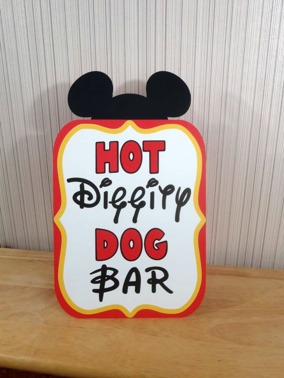 Mickey Party Hot Dog Bar Sign