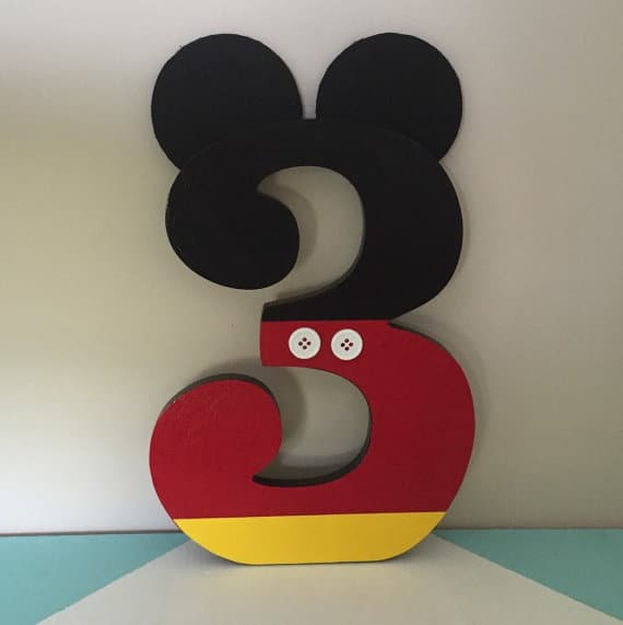 Mickey Mouse Birthday Number Party Decoration