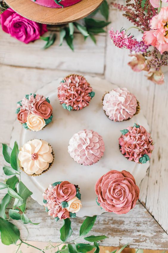 Fairy party flower cupcakes