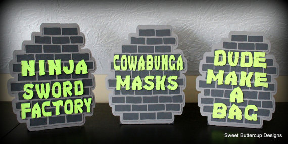 Ninja Turtle Party Brick Wall Table Signs
