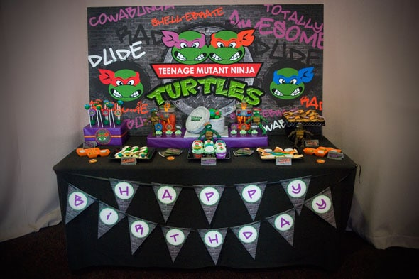 Ninja Turtle Party Dessert Table