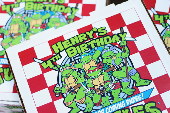 Ninja Turtle Printable Labels and Pizza Boxes For Birthday Party