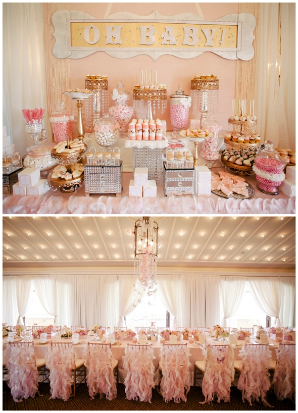 A Pink And Gold Dessert Table For First Birthday Party