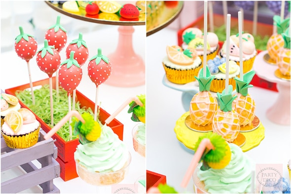 Tutti Frutti Strawberry and Pineapple Cake Pops on Pretty My Party