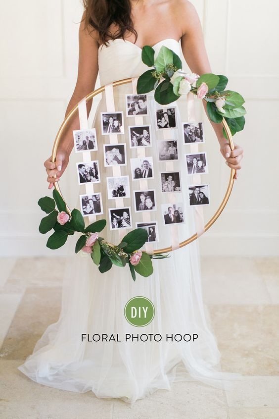 DIY Photo Hula Hoop Wreath for Wedding