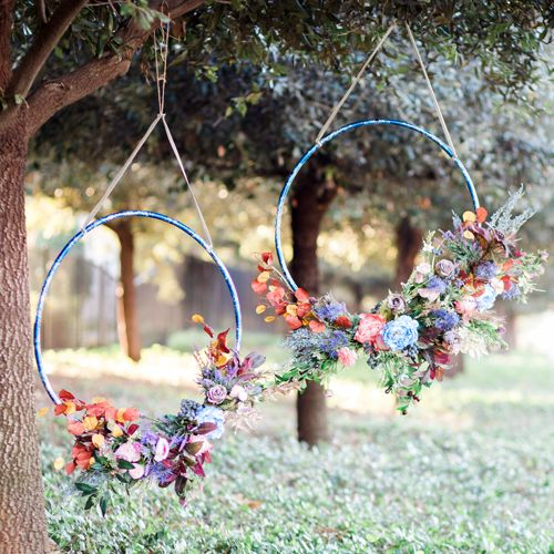 Hanging Floral Hula Hoop Wreaths for Wedding