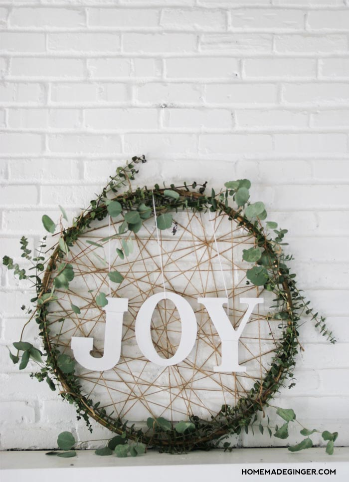 Rustic Joy Hula Hoop Wreath Decoration