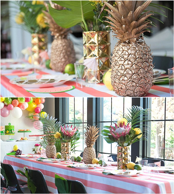 Tropical Tutti Frutti Party Table and Centerpieces