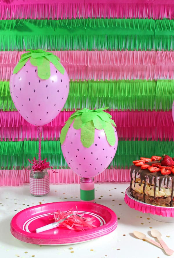 DIY Strawberry Balloons | DIY Balloon Party Ideas | Pretty My Party
