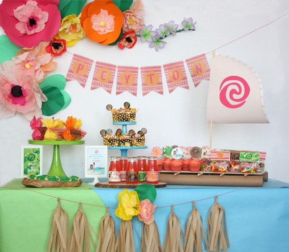 Moana Themed Dessert Table - Moana Party Ideas