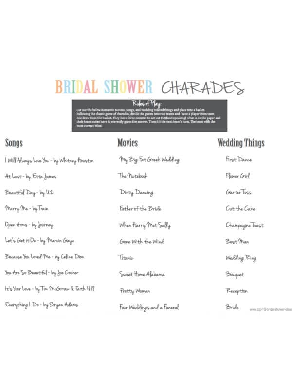 Bridal Shower Charades - Fun Bridal Shower Games