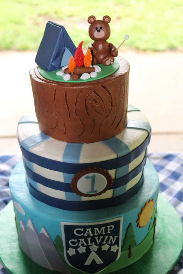 Adorable Camping Party Cake