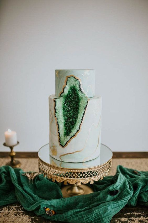 Emerald Green Geode Cake | Geode Cake Ideas
