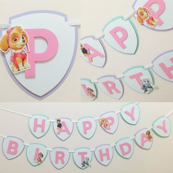 Girls Paw Patrol Birthday Banner | Pretty My Party